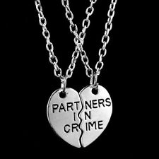 2pcs Partners in Crime Friendship Necklace Set Best Friend Couple Silver Tone