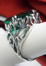 Leaf Filigree Ring Size 7 6ct Baguette *Emerald/Green* Solid Sterling Silver
