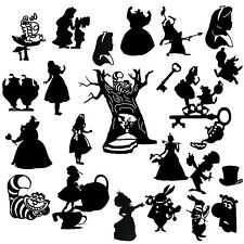 Die Cut outs Silhouette Alice in wonderland Shapes x 22 set fairy jar Scrapbooks