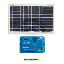 Kit Solare Fotovoltaico pannello 10W 12V Regolatore PWM 5A Camper Casa Nautica I