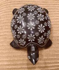 "Hand Crafted Genuine Soap Stone Sea Turtle Figurine In Black 7"""