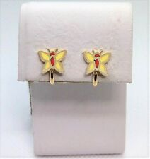 Vintage Gold Tone Yellow and Orange Butterfly Clip Earrings