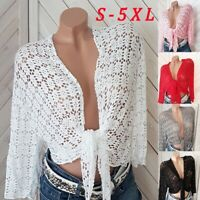 Women's Fashion Crochet Bolero Elegant Lace Cardigan Shrug Coat Tops Plus Size