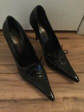 Women's 36 1/2 Narrow (EU) Kenneth Cole Black Leather Hipster Pointy High Heels