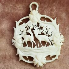 Bovine Bone Deer Pendant,  Hand Carved, Early 20th Century, Stags.