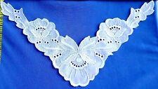 V Neckline Collar Applique Swiss Embroidered Lace Cotton White #555
