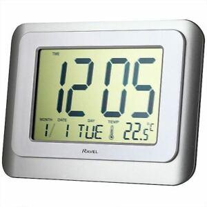 RAVEL WALL & DESK JUMBO LARGE SCREEN DIGITAL DAY DATE TEMPERATURE ALARM CLOCK