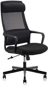 High Mesh Back Office Swivel Chair Armrests Padded Headrest Lumbar Support Home
