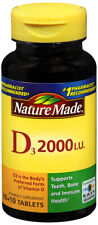 Nature Made Vitamin D3 2000 IU 50 mcg Tablets 100 Count for Bone Health