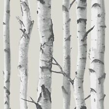 nuwallpaper Bouleau Arbre Autocollant Papier peint gris nu1650