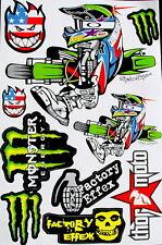 3 Sheets scooter motocross Stickers atv mx Energy Rockstar BMX Bike F/A decal