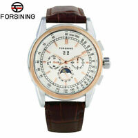 FORSINING Leather Strap Moon Phase Men's Self-Wind Mechanical Wrist Watch Gift
