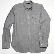 UNIS New York Chambray Work Shirt Small USA Japan Fabric Grey Reverse Pocket