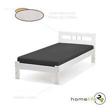 Holzbett 90x190cm Bett Einzelbett Massivholzbett weiß lackiert inkl. Lattenrost