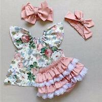 US Summer Newborn Baby Girl Clothes Floral Tops Ruffle Shorts 3Pcs Outfit Lovely