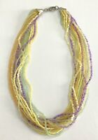 "Vintage Multi Strand Multi Color Beaded Collar Necklace~Yellow Green Purple 17"""