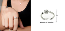 925 Sterling Silver Star Snow-flake Micro-inlay Cubic Zirconia Adjustable Ring
