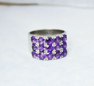 925 Sterling Silver Certified Amethyst Gems Cocktail anniversary ring for women