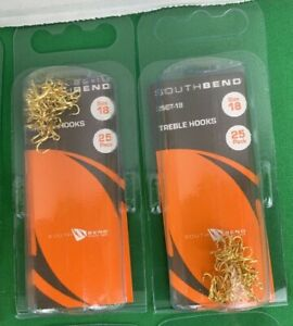 Two (2) Packs of 25 South Bend Size 18 Gold Treble Fish Hooks (50 Total Hooks)