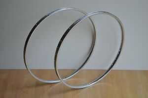 Vintage 1987 Raleigh Pair of Chromed Steel Wheel Rims 600A 36 Holes