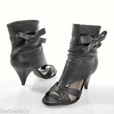 La Redoute BLACK leather SEXY high heeled SANDALS open boots UK 6.5 EU 40 NEW