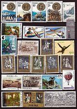 95T4  POLOGNE 25 timbres grands format, oblitérés:2series,avions,bataille,divers