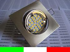 10x FARETTO LED INCASSO QUADRATO 120° GU10 BIANCO CALDO 3w 220v