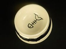 """6"""" Ceramic Cat Food/Water Bowl,  White w/Black Highlight, Hand Painted Details,"""