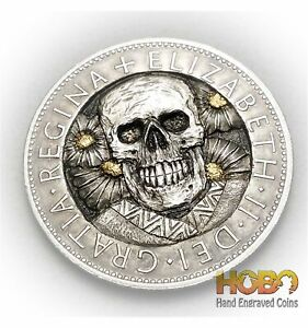 """Hobo Nickel Coin 1967 Half Crown """"Smiley"""" Hand Engraved by ZNK 张宁凯"""