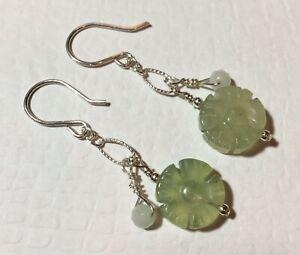 Carved Jade Flower, Amazonite & .925 STERLING SILVER Earrings * Sundance Artisan