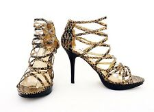 Anne Michelle Gladiator Sandals Heels Gold Snake Skin Print Strappy Party 7 40
