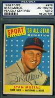 Stan Musial 1958 Topps PSA DNA Cert Autograph Authentic Hand Signed
