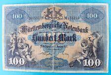 WTB 10a Banknote 100 Mark Hundert 1911 Württembergisches NOTENBANK old bill