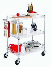 3-Tier Rolling Wire Utility Cart with Basket & Wheels