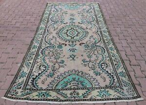 Traditional Oriental Handmade Carpet Anatolian Vintage Oushak Area Rug 6x9 ft