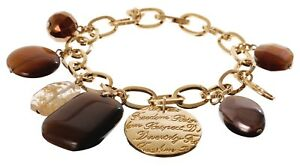£85 Boho Minimalist Gold Brown Glass Pearl Charm Chain Link Statement Bracelet