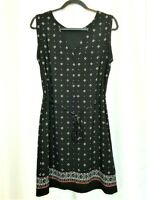 Banana Republic Sz 8 Black Sleeveless Dress Knee Length Geometric Design