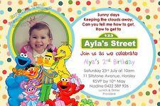 Boy Girl Birthday Invite Sesame Street Invitation Elmo Big Bird Cookie Monster