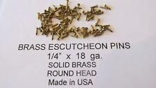 """ESCUTCHEON PINS SOLID BRASS  300 pcs. 1/4"""" X 18 ga. U.S.A. WOOD / LEATHER new"""