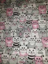 100% Cotton Pink Cat Print Light Fabric Sew Fat Quarter 50cm X 80cm
