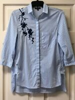 Athena Marie Womens S Button Up 3/4 Sleeve Hi/low Striped Shirt Blue/White