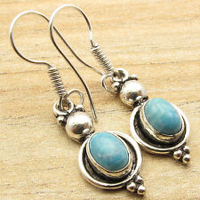 925 Silver Overlay Simulated LARIMAR Earrings Birthstone Jewelry FOR JUST $0.99
