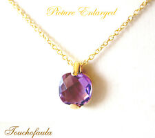 14K Solid Yellow Gold Necklace with Cushion Cut Faceted Amethyst Pendant.