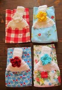Pioneer Woman Crochet Top Kitchen Towel * Sweet Rose * Set of 4 Country Garden