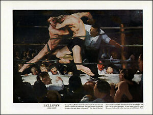 1938 George Wesley Bellows vintage art Stag at Sharkey's Club Boxing NYC adL51