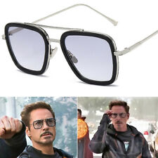 Tony Stark Sunglasses Square Metal EDITH Cosplay Iron Man Sun Glasses Eyewear
