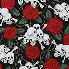 "ALEXANDER HENRY ""SKULLS"" 1595AR Black by the 1/2 yard"