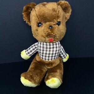 "Vintage Large Head Teddy Bear Brown Gingham Checks Shirt 16"" Plush Red Tongue"