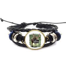 Moose On The Loose Glass Cabochon Bracelet Braided Leather Strap Bracelets