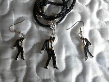 "MICHAEL JACKSON - BIJOUX ""BILLIE JEAN"" - EARRINGS + PENDANT - RARE JEWELS"